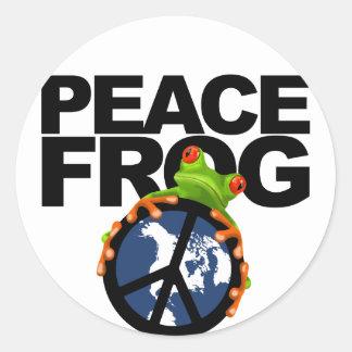 Peace, Frog-2 Round Sticker