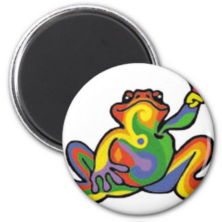 Peace Frog 6 Cm Round Magnet