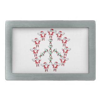 Peace fron Santa and his Elves :) Rectangular Belt Buckle