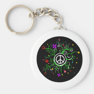 Peace Garden Basic Round Button Key Ring