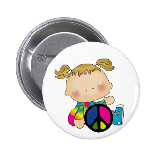Peace - Girl Tshirts and Gifts Pinback Button