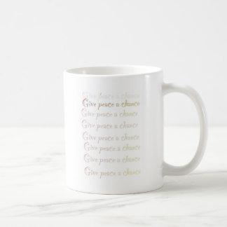Peace, give peace a chance coffee mugs