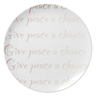 Peace, give peace a chance dinner plate