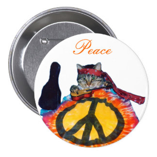 Peace guitar cat Button Pin