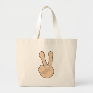 peace hand gesture jumbo tote bag
