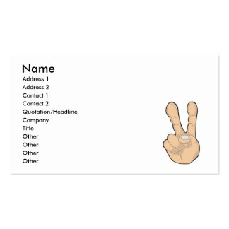 peace hand gesture pack of standard business cards