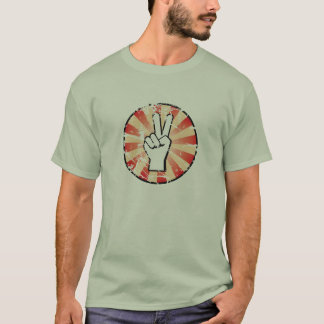 Peace Hand Sign on Color - grunge T-Shirt