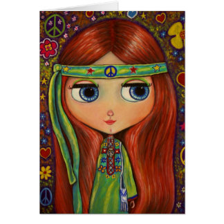Peace Hippie Doll Card