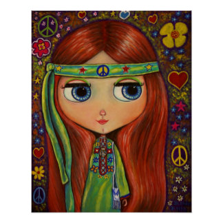 Peace Hippie Doll Poster