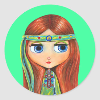 Peace Hippie Doll Sticker