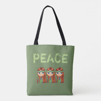 Peace Hippie Girl Chick in Green Headband 1960s Tote Bag