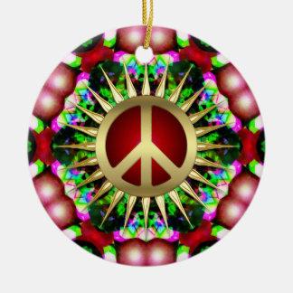 Peace Hippie Hexagon Christmas Ceramic Ornament