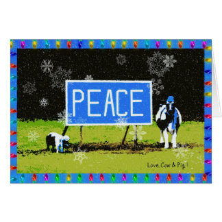 Peace!  Holiday Card with Cow & Pig
