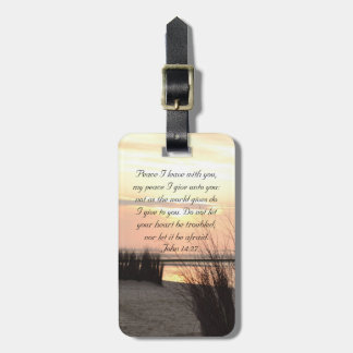 Peace I leave with you, Bible Verse Ocean Sunset Luggage Tag