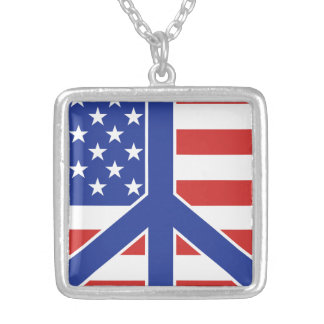 Peace in America Silver Plated Necklace