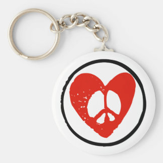 Peace in Heart Basic Round Button Key Ring