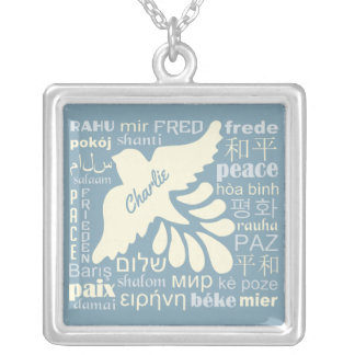 PEACE in languages custom name & color necklace