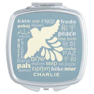 PEACE in languages custom name pocket mirror Travel Mirrors