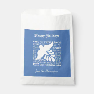 PEACE in many languages custom text favor bags