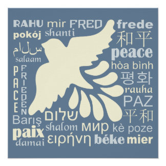 PEACE in many languages poster