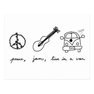 Peace, Jam, Live in a Van Postcard
