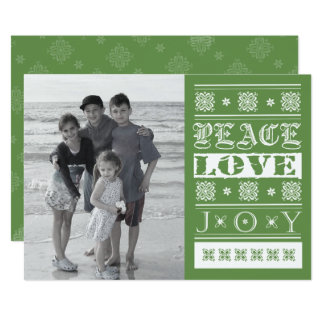 Peace, Joy and Love in Green Photo Card