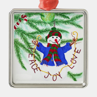 Peace, Joy and Love - Snowman Christmas Ornament Silver-Colored Square Ornament