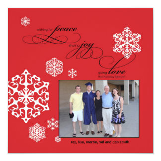 Peace, Joy and Love white snowflakes by Cotton Ink 13 Cm X 13 Cm Square Invitation Card