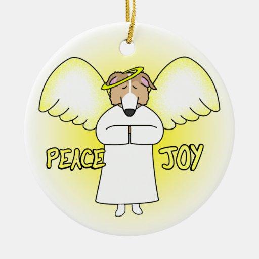 Peace Joy Angel Red Borzoi Christmas Ornament
