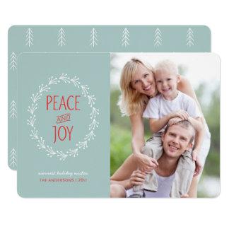 Peace & Joy Boho Christmas Berry Wreath | Blue Card