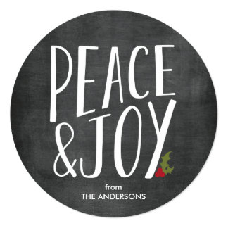 Peace & Joy Chalkboard Round Holiday Card