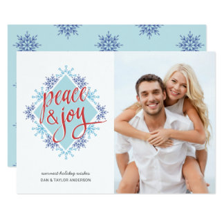 Peace & Joy Handwriting over Watercolor Snowflakes Card