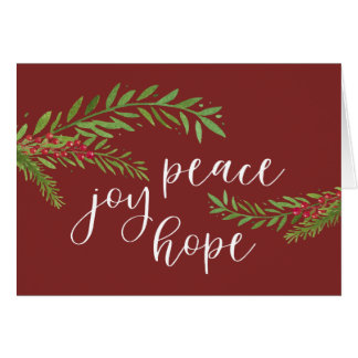 Peace Joy Hope Watercolor Foliage Christmas Card