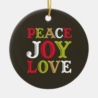 PEACE JOY LOVE block letter holiday keepsake photo Ceramic Ornament