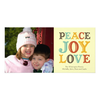 PEACE JOY LOVE block letter holiday photo greeting Personalised Photo Card
