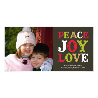 PEACE JOY LOVE block letter holiday photo greeting Personalized Photo Card