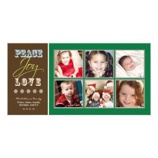 Peace-Joy-Love Family Holiday Photocard (green) Custom Photo Card