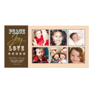 Peace-Joy-Love Family Holiday Photocard (peach) Picture Card