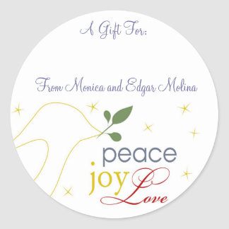 Peace, Joy, Love Gift Tags Round Sticker