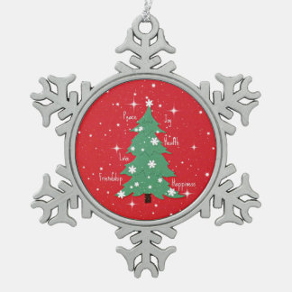 Peace, Joy, Love, Happiness, Friendship Snowflake Pewter Christmas Ornament
