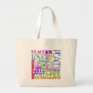 Peace Joy Love Happiness Large Tote Bag