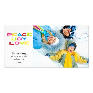 Peace Joy Love Modern Trendy Colorful Photo Card