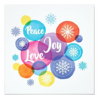 Peace Joy Love Watercolor Christmas Ornaments Card