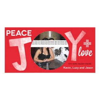 Peace Joy Plus Love Photo Card