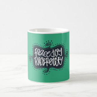 Peace Joy Prosperity | Navy Medallion Typographic Coffee Mug