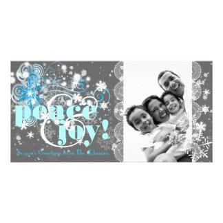 Peace & Joy Swirly Snowflake Sparkles Photo Card