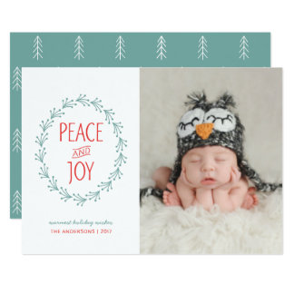 Peace & Joy Watercolor Christmas Boho Berry Wreath Card