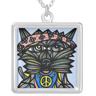 """Peace Kat"" Sterling Silver Necklace"
