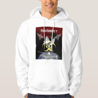 Peace keeping design on hooded sweater