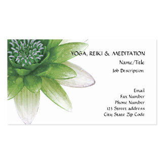 Peace l Beautiful Green Lotus Flower/Water Lily Business Card Templates